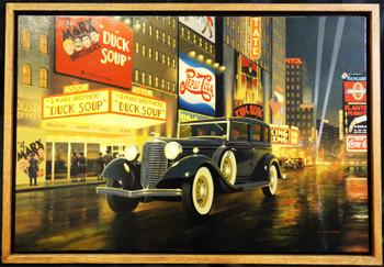 1933 Lincoln Motor Car Original Oil Painting