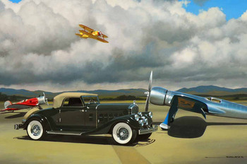 1933 Pierce Arrow Motor Car Original Oil Painting