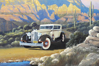1934 Packard Derham Motor Car Original Oil Painting