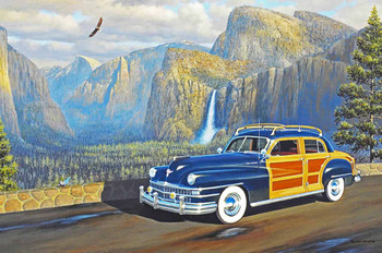 1947 Chrysler Woody Motor Car Original Oil Painting
