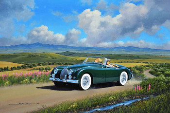 1958 Jaguar  Motor Car Original Oil Painting