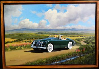 1958 Jaguar  Motor Car Original Oil Painting