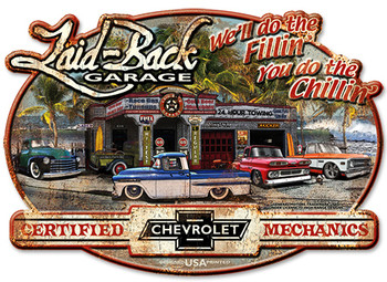 """Chevy Trucks """"Laid Back Garage"""" Sign Embossed Shaped 22"""" by 16"""""""