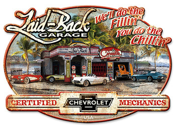 """Corvette """"Laid Back Garage"""" Sign Embossed Shaped 22"""" by 16"""""""