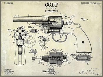 Colt Revolver Patent Metal Sign