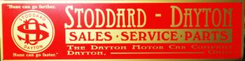 "Stoddard-Dayton Sales & Service Advertisement 46"" by 12"""