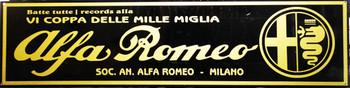 "Alpha Romeo Motor Car Advertisement 46"" by 12"""