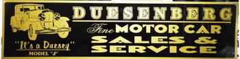 """Dusenberg Motor Car Advertisement 46"""" by 12"""""""