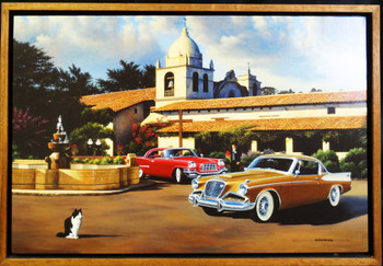 California Mission / Classic Cars framed Lithograph by Stan Stokes