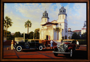 Hearst Castle / Vintage Motor Cars Framed Lithographs by Stan Stokes