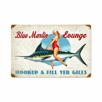 Blue Marlin Lounge Bathing Beauty Pin Up by Ralph Burch Metal Sign