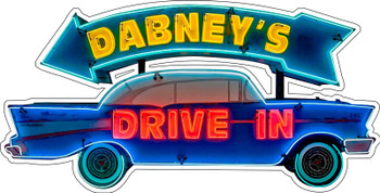 Dabney's Drive In Neon Style Plasma Cut Metal Sign