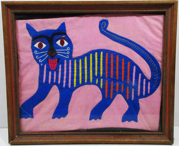 "Native American Hand Crafted Fabric Art ""Cat"""