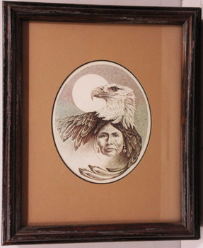 Framed Native American Art B/W Sketch American Indian / Eagle