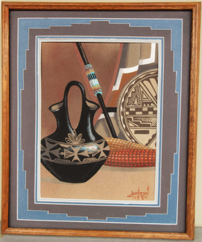 Native American Sand Art Wedding Vase Framed