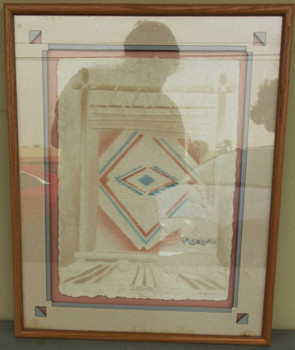 Native American Hand Cast Paper Framed
