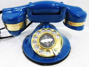 Automatic Electric Round Base Brass Model #40 Circa 1929 Telephone (Blue)