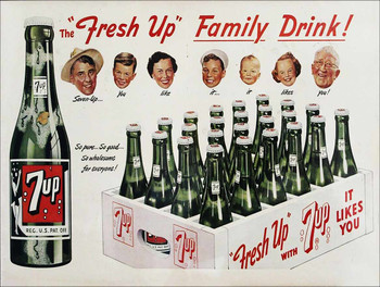 """7 Up """"Fresh Up"""" the Family Drink Soda Metal Sign"""