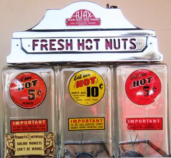 Ajax Deluxe Hot Nut Vender 5c/10c circa 1940's Restored