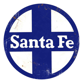 "Santa Fe Railway Rustic 14"" Round Metal Sign"