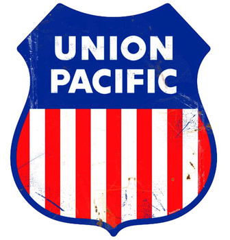 Union Pacific Railway Rustic Shield Metal Sign