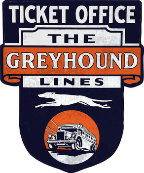 Ticket Office the Greyhound Lines Bus Plasma Cut Metal Sign