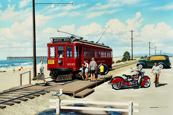 Newport Beach Trolly Metal Sign by Stan Stokes