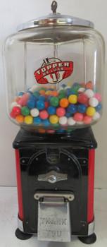 Topper Round Gum 1c Dispenser circa 1940's (red/black) Chrome Lid