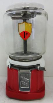 Atlas Round Candy/Peanut 1c Dispenser circa 1940's (red/white)