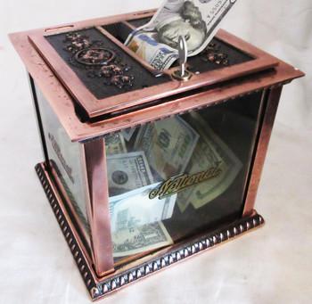 National Cash Register Receipt Ticket Box w/Key Fully Restored Antique Copper Finish