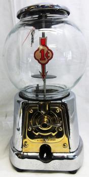 Advanced One Cent Round Chrome Gumball Dispenser Circa 1940's