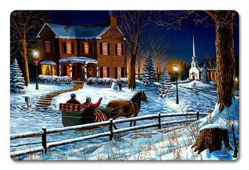 Home for the Holidays Christmas Sleigh Ride Metal Sign