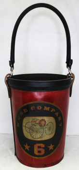 """Leather Fire Bucket """"Hose Company 6"""" Red Finish"""