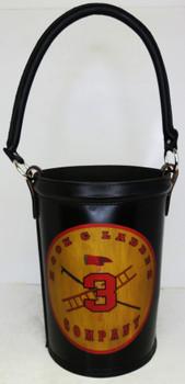 "Leather Fire Bucket ""Hook & Ladder Company 3"" Black Finish"