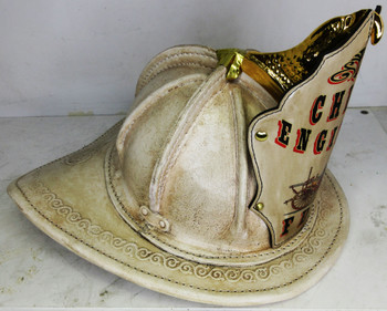 High Eagle Leather Fire Helmet Chief Engineer FDNY (rustic antique/white)