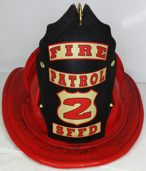 """High Eagle Leather Fire Helmet """"Fire Patrol 2 SFFD"""" (rustic red finish)"""