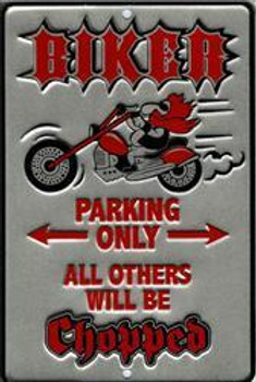 Biker Chopped Embossed Metal Sign