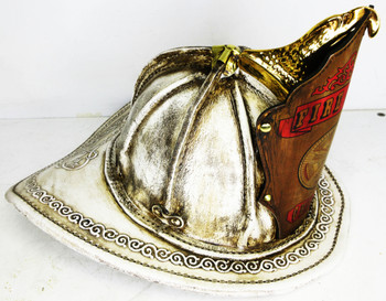 """High Eagle Leather Fire Helmet """"Fire Chief Chicago"""" (white finish)"""
