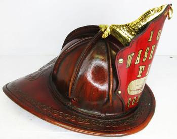 """High Eagle Leather Fire Helmet """"1820 Washington Fire Company"""" (stain leather)"""