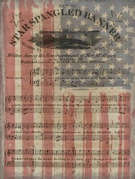 Star Spangled Banner, American Flag, Sheet Music Patriotic Metal Sign