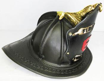 High Eagle Black Leather Fire Helmet Custom Shield 6