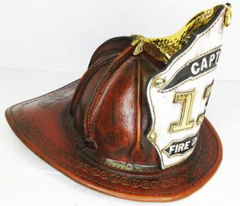 "High Eagle Leather Fire Helmet Custom ""Captain 13"" Rustic Finish"