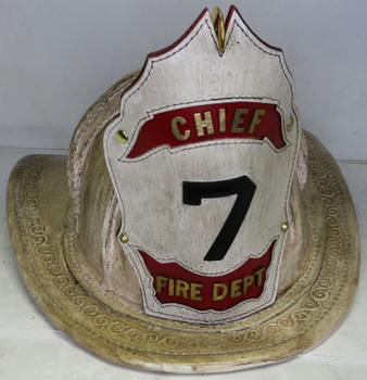"High Eagle Leather Antique White Fire Helmet Custom Shield ""Chief 7"""