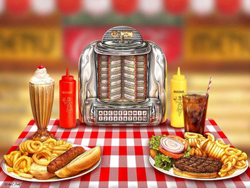 Diner Food with Select-o-matic, Man Cave Art by Michael Fishel Round Metal Sign