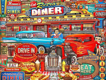 Diner Collage of Retro Americana Classics, Man Cave Art by Michael Fishel Metal Sign