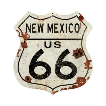 New Mexico Rustic Route 66 Shield Metal Sign