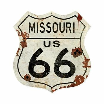 Missouri Rustic Route 66 Shield Metal Sign