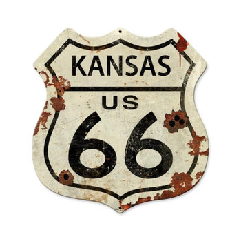 Kansas Rustic Route 66 Shield Metal Sign