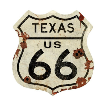 Texas Rustic Route 66 Shield Metal Sign