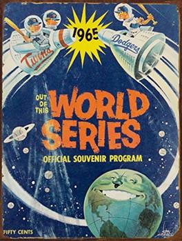 World Series 1965 Dodgers vs. Twins Souvenir Program Metal Sign